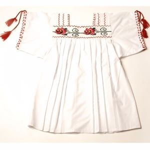 White handmade cross-stitch Mexican blouse